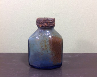 Vintage Squibb Bottle 87401 Cobalt Blue Glass With Lid Rusty