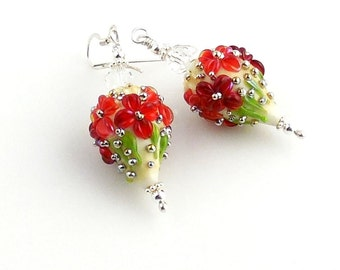 Red and Silver Floral Christmas Lampwork Earrings, Lampwork Jewelry, Holiday Jewelry, Gifts