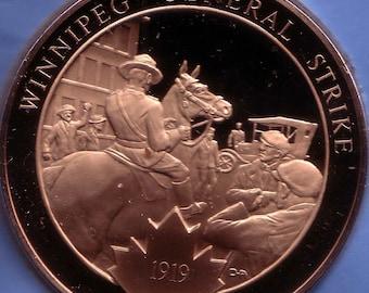 Canadian History Medals Winnipeg General Strike   44 mm  Bronze Rare 1919
