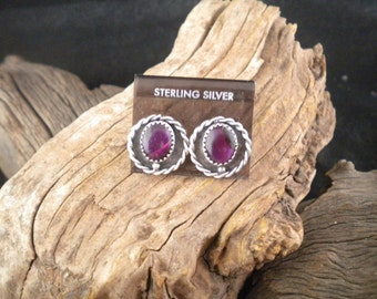 Earrings Purple Paua Shell Sterling Silver Post and Clasp Handmade