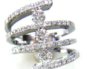 0.75CT Diamond Crisscross Art Deco Diamonds Wedding Band Anniversary Bands Rings Right Hand Ring Platinum 18K 14K White Yellow Rose Gold