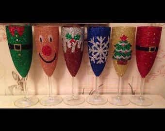 Christmas glitter glass, champagne flute Glitter wine glass, glitter glasses, Christmas glass, party favours, handmade