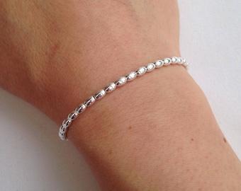 Sterling silver bracelet, silver olive bead bracelet, minimal silver stretch bracelet, shiny silver small bead bracelet, birthday gift