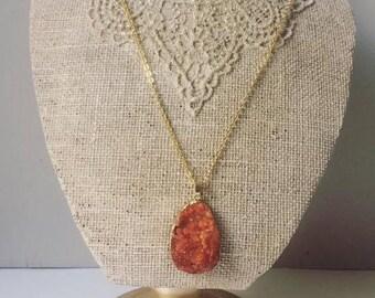Necklace with Brick color druzy