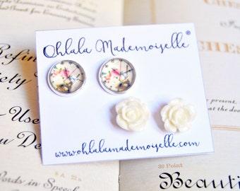 Set of handmade studs earrings - glass cabochon earrings, flower studs, wedding jewelry, bridesmaid earrings, romantic jewelry jewelry
