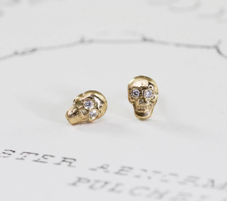 Gold Skull Stud Earrings with Diamond Eyes 14k Gold Small