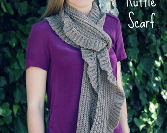 Download Now - CROCHET PATTERN Subtle Ruffle Scarf - Child and Adult
