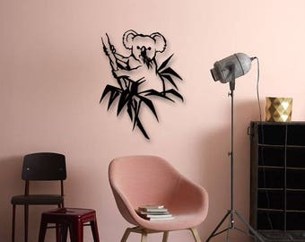 Koala Metal Wall Deco, Animals Metal Art, Wall Decor, Metallic Paint, Living Room Wall Decor, Bedroom Wall Decor, Metal Wall Hanging