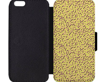 Nineties 90's Print Pattern Leather Flip Wallet Case Apple iPhone 5 5S SE 6 6S 7 7S 8 8S X Plus