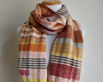 """Handwoven Scarf/ Handwoven Cotton and Wool Scarf/ Patterned Stiped Scarf/ The """"Serengeti"""" Scarf"""