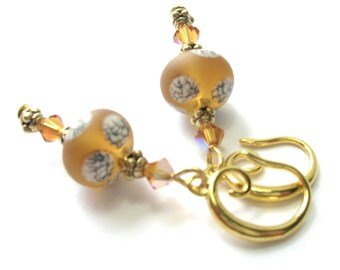 Topaz/Brown Art Bead Earrings - Handmade Beads/Swarovski Crystal - Handmade Earrings