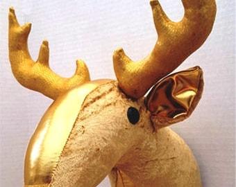 Faux taxidermy deer head-reindeer-stag head-trophy head-Christmas wall decor-animal sculpture