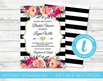 EDIT YOURSELF, Kate Bridal Shower Invitation, Black White Striped Invitation, Black and Pink Invitation, Spade Shower Gold Floral Templett
