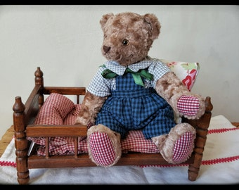 Artist teddy bear, vintage style teddy bear, plush teddy bear for sale, stuffed teddy bear, OOAK teddy bear, handmade bear, stuffed teddy