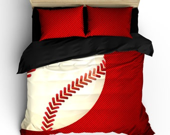 Red and Black Baseball or Baseball Mom Theme Bedding, available Twin, Full/Queen, and King Size