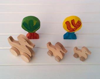 Wooden animals on wheels - Duck