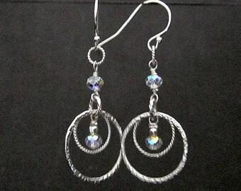 Sterling Silver Swarovski Crystal Hoop Earrings