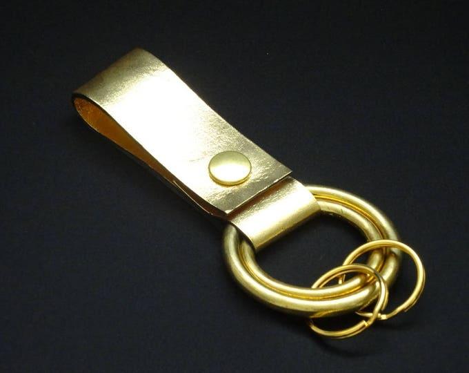 Rings-of-Fire Keyring - Gold - Genuine Kangaroo Leather Keychain for Key Keys Men Women Belt - Handmade - James Watson