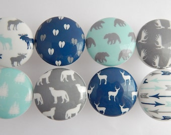 Rustic Woodland Knobs, Moose, Deer, Antlers, Bear, Arrows, Pulls, Mint, Navy Gray - 1.5 inch size- made to order-