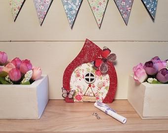 Fairy Door Elf or Hobbit Door Fairy Delainie Ruby Red Handmade