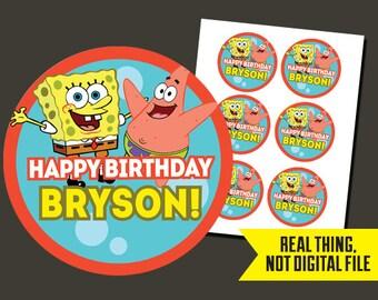Spongebob Stickers - Spongebob Birthday - Sponge BobPrinted