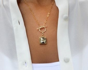 MOTHER'S DAY SALE - pyrite necklace,toggle clasp necklace,gold necklace,14k gold chain necklace,gemstone necklace,square pendant