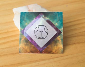 Ether Platonic Solid Geometry Sticker - Akash Vinyl Stickers, stability, energy, ancient symbol, crystal grid, boho, tarot, elements, magic