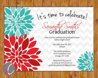 2018 Graduation Party Invitation Red Teal Blue Floral Flower Burst Teen Adult High School College Invite 5x7 Digital JPG DIY Printable (453)