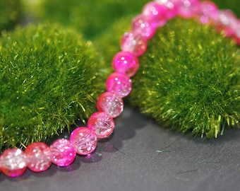 lot 100 glass beads, bright pink and clear