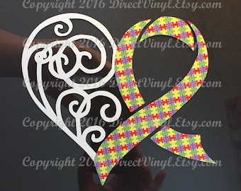 Autism Awareness Puzzle Ribbon Heart Scroll Window Decal