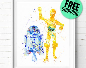 Star Wars R2-D2 and C3PO print, Star Wars poster, r2d2 c3po poster, C3PO R2D2 print, wall art, watercolor art, abstract, [168] home decor