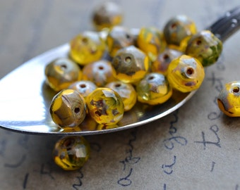 Yellow Czech Glass Beads / 6mm Picasso Bead / Czech Jewelry Findings
