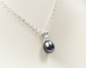 Black Pearl Necklace Single Black Pearl Pendant Bridesmaid Jewelry Black Pearl Drop