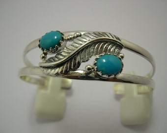 925 Sterling Silver Cuff Bangle Studded with Natural Turquoise.