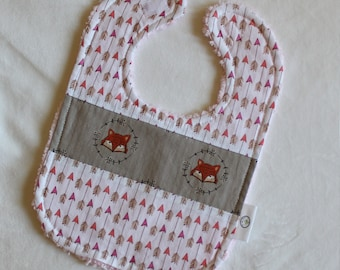 Taupe Foxes and Arrows Chenille Boutique Bib