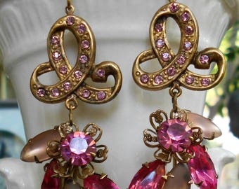 Vintage assemblage earrings pink rhinestones brass ribbons 1940s statement earrings one-of-a-kind by Triolette upcycled jewelry