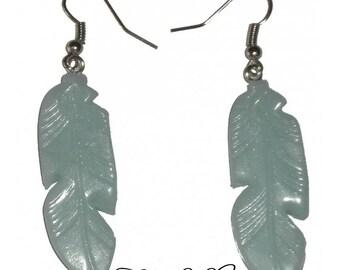 Feather earrings, sky blue polymer clay