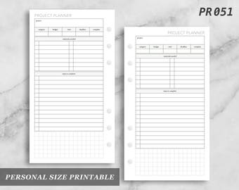 Personal Size Printable Project Planner Projects Digital Download PR051