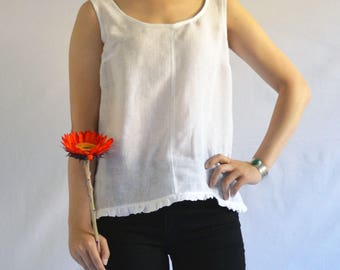The Sunshine Tank: Women's Linen Sleeveless Top in White