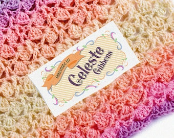 """Ribbons Around It!  • Sew-on or Iron-on • 80 Labels  2 x 1"""" Uncut • Your Name Added • Colorfast 100% Preshrunk Cotton"""