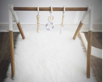 Wood Baby Gym - Infant Activity Center - Wood and Merino Wool Toys - Natural Dark Stain and White - Non-Toxic Organic Wax - New Baby Gift