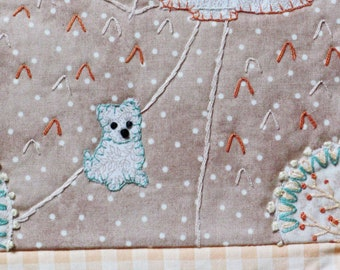 small fabric art wall hanging, rustic home decor, hand embroidered wall art