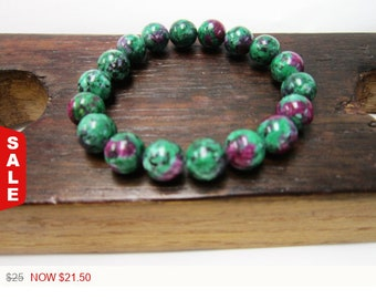 Sale -  Ruby in Zoisite Gemstone Bracelet Anyolite Ruby in Zoisite Bracelet Healing Bracelet Ruby in Zoisite Detoxification Regeneration Any