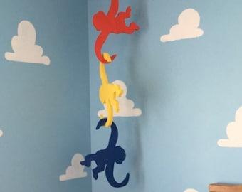 Barrel of Monkeys Cutouts-Hanging Monkeys-Kids- room Decor-Nursery room decor-Unfinished or Painted Shape # 010-084