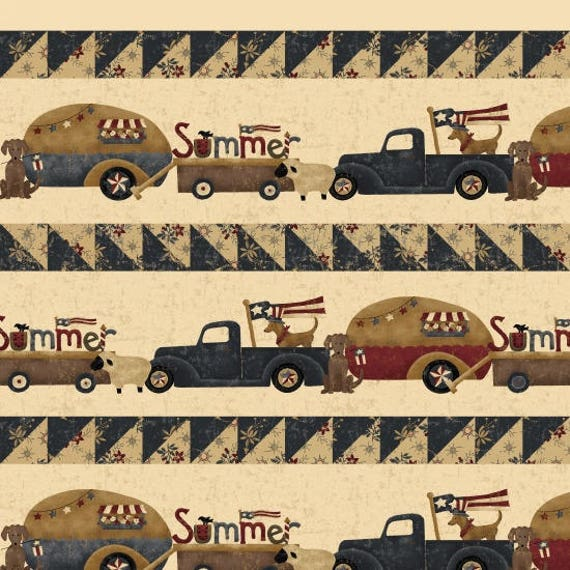 Vintage Campers and Trucks on Parade Novelty Stripe Summer Fun Camping And Adventures Primitive Folk Vintage Cream. SKU 8870-44