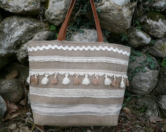 Burlap bag and tassels // coffee bag // bohemian bag // burlap and lace bag