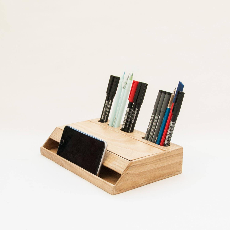 🔎zoom. wood handmade desk organizer  office modern desk organizer