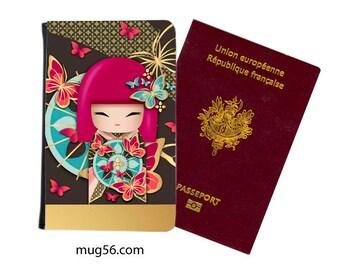 Kimmidoll, Kokeshi doll, Geisha - passport cover