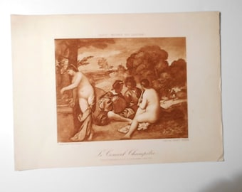 Free shipping-Ancient Art Print, Country concert, Giorgione , Louvre Museum