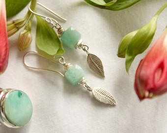 Amazonite + Thai Hill Tribe Silver Earrings